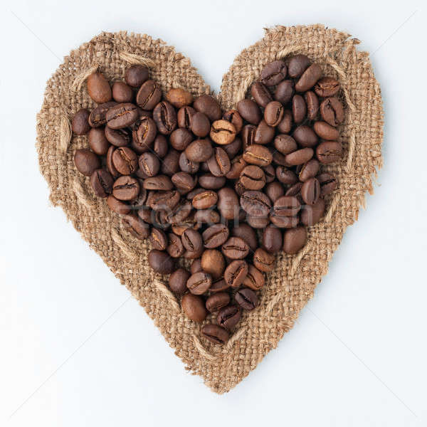 Szív zsákvászon kávé fehér használt háttér Stock fotó © alekleks