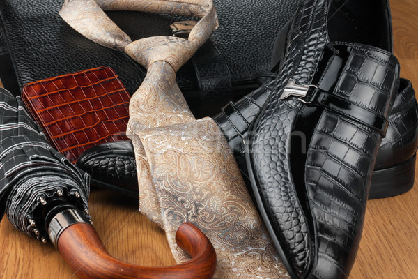 Classic mens shoes, tie, umbrella,wallet  and bag on the wooden  Stock photo © alekleks
