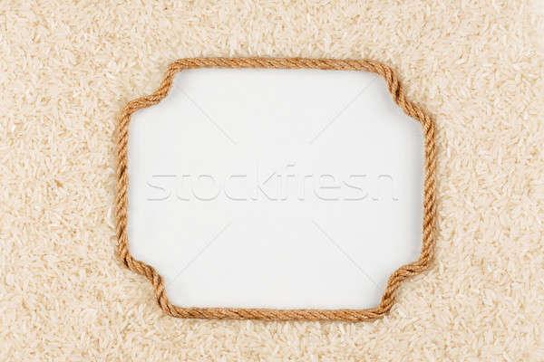 Quadro corda arroz branco lugar Foto stock © alekleks