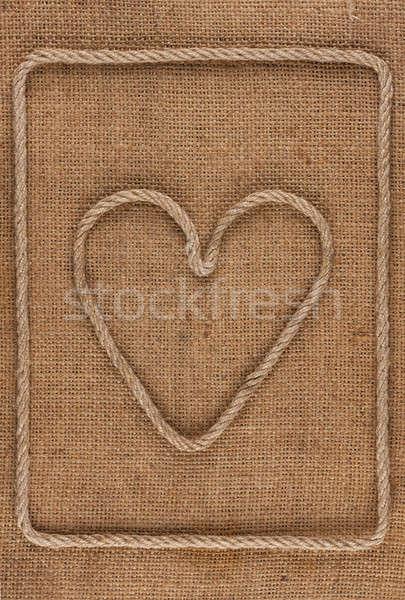 Heart made of rope on burlap Stock photo © alekleks