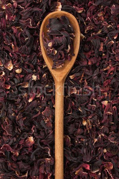 Cuchara de madera secado hibisco mentiras aumentó salud Foto stock © alekleks