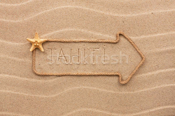 Arrow made of rope and sea shells with the word Tahiti on the sa Stock photo © alekleks