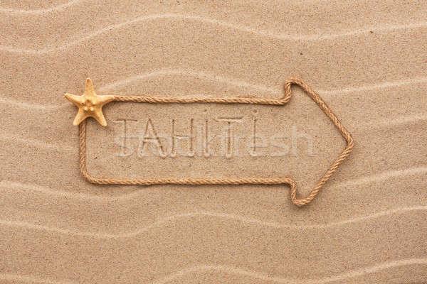 Ok halat deniz kabukları kelime tahiti Stok fotoğraf © alekleks