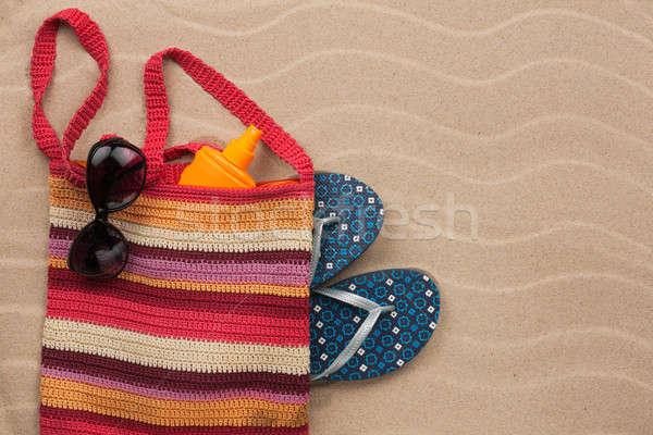Protetor solar óculos de sol férias de verão moda Foto stock © alekleks