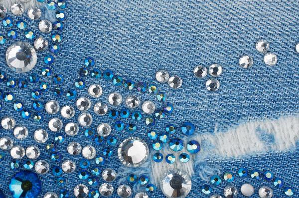 Denim blu argento moda sfondo tessuto Foto d'archivio © alekleks