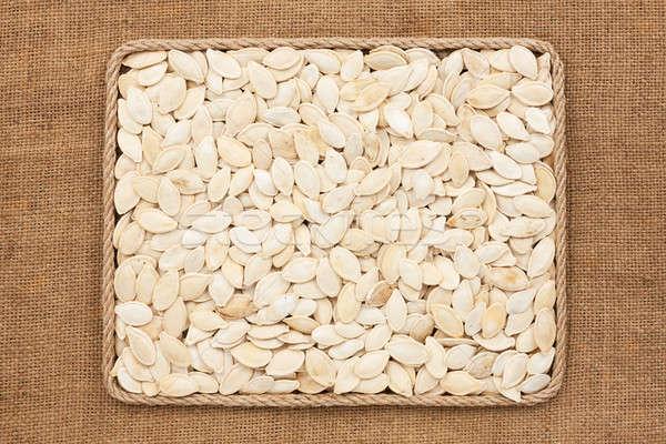 Quadro corda abóbora sementes comida fundo Foto stock © alekleks