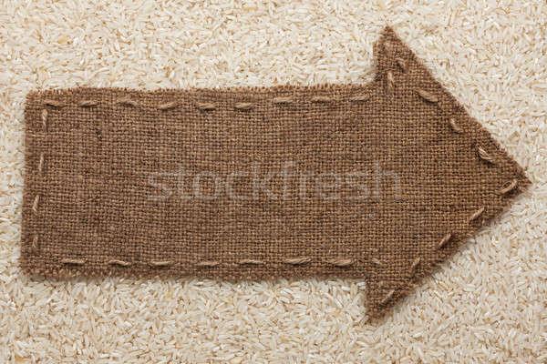 Toile de jute mensonges riz grain lieu signe Photo stock © alekleks