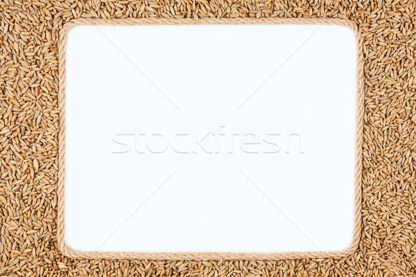 Frame made of rope with rye lying on a white background Stock photo © alekleks