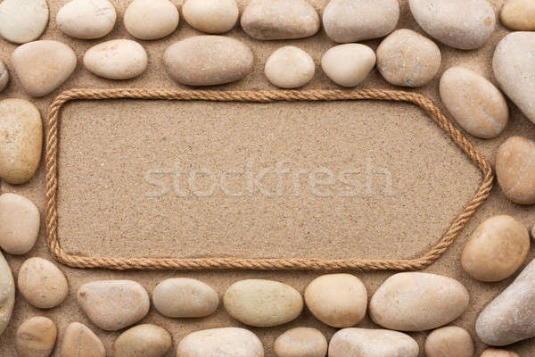 веревку белый камней текстуры морем кадр Сток-фото © alekleks