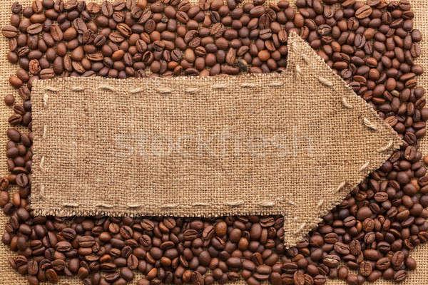 ストックフォト: 黄麻布 · 場所 · 文字 · コーヒー · コーヒー豆 · 食品