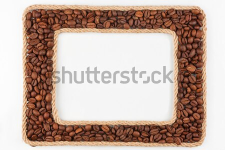 Two frames made of the rope with coffee  beans on a white backgr Stock photo © alekleks