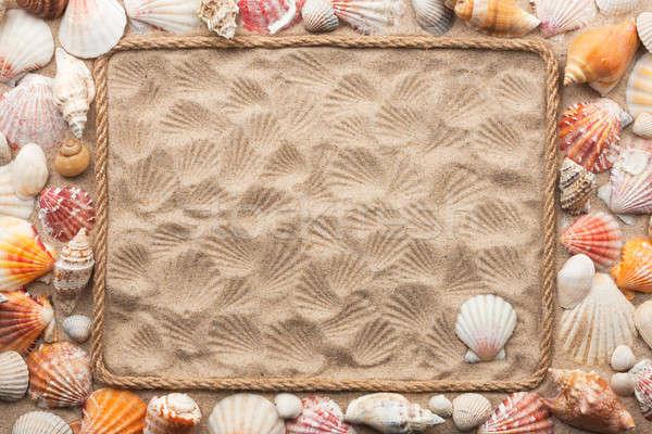 Gyönyörű keret kötél tenger kagylók homok Stock fotó © alekleks