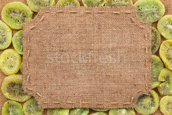 Figured frame made of burlap on dried kiwi Stock photo © alekleks