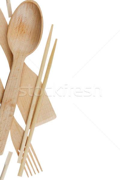 ложку вилка палочки для еды лопатой изолированный белый Сток-фото © alekleks