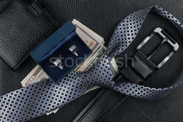 Nyakkendő öv pénztárca mandzsettagombok pénz bőr Stock fotó © alekleks