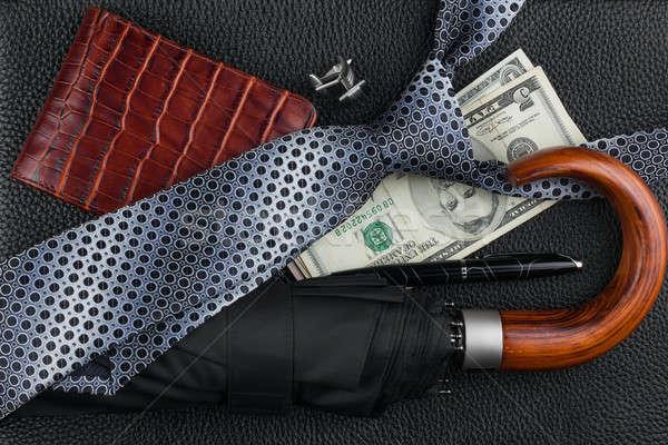 Nyakkendő esernyő toll pénztárca mandzsettagombok pénz Stock fotó © alekleks