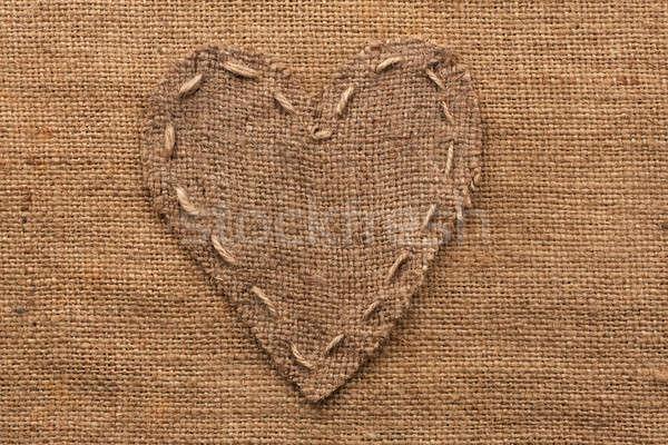 Hart jute plaats textuur liefde Stockfoto © alekleks