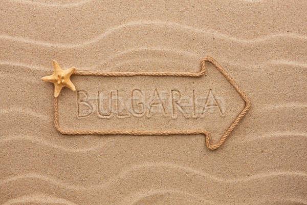Nyíl kötél tenger kagylók szó Bulgária Stock fotó © alekleks