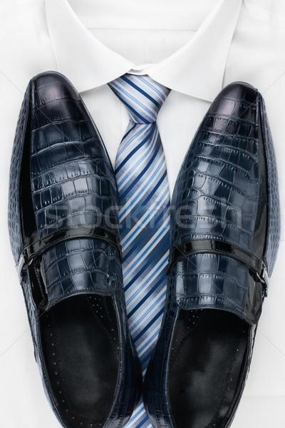 Stock fotó: Klasszikus · cipők · nyakkendő · fehér · póló · konzerv