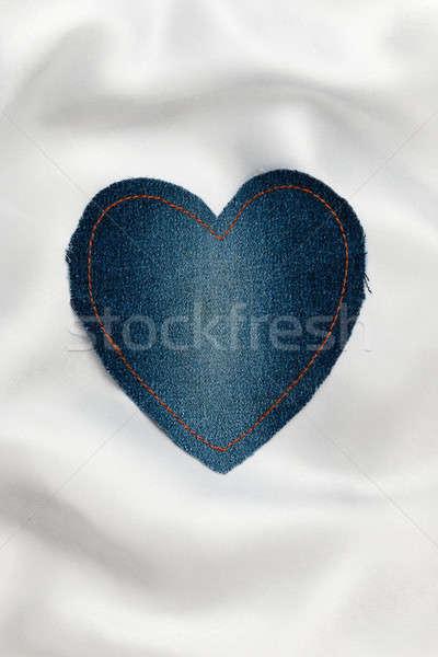 Corazón denim tejido amarillo blanco seda Foto stock © alekleks