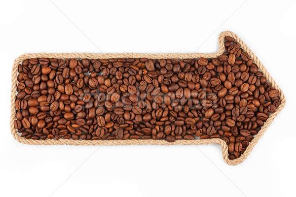 Nyíl kötél kávé fehér háttér keret Stock fotó © alekleks