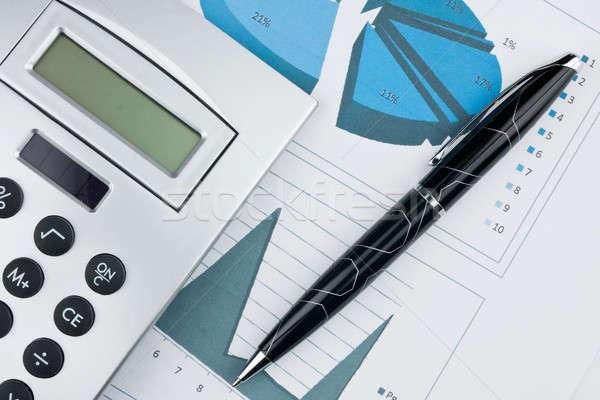 Graphique à barres stylo simulateur possible affaires vert Photo stock © alekleks