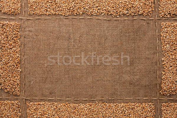Beautiful frame with wheat grains on sackcloth Stock photo © alekleks