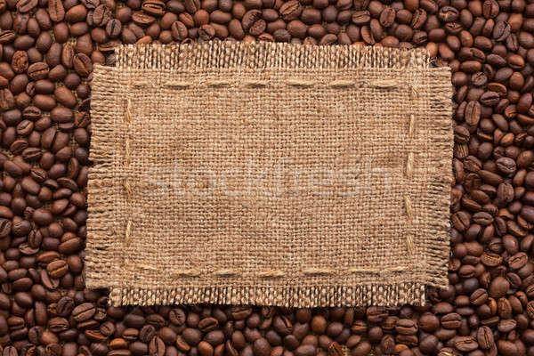 Frame jute koffiebonen witte plaats textuur Stockfoto © alekleks