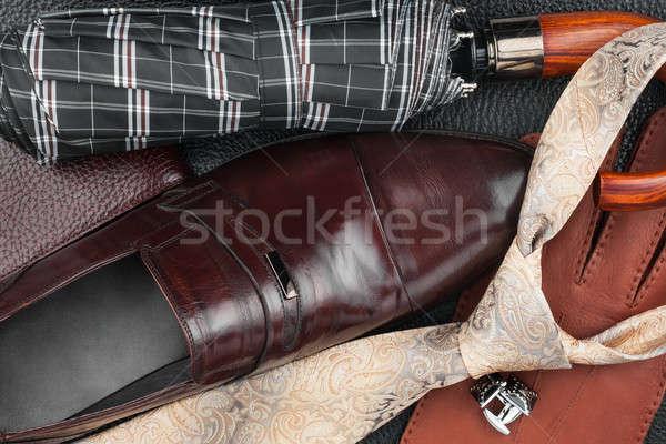 Klasszikus cipők nyakkendő mandzsettagombok pénztárca természetes Stock fotó © alekleks