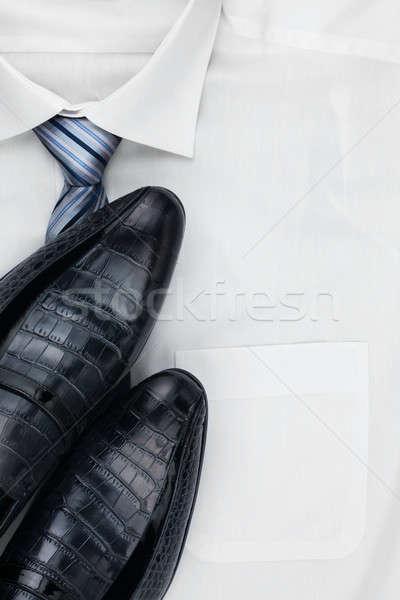 Classic mens shoes, tie on a white shirt Stock photo © alekleks