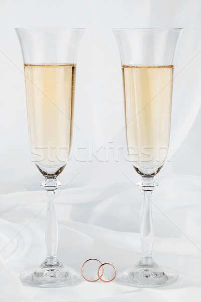 обручальными кольцами свадьба очки белый стекла фон Сток-фото © alekleks