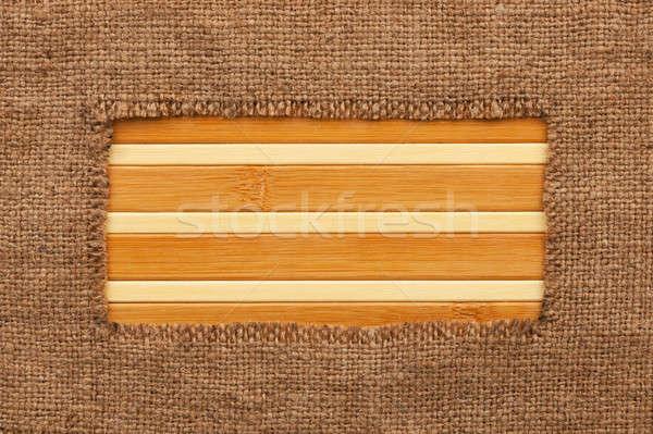 Cadre toile de jute bambou espace texture bois Photo stock © alekleks