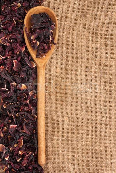 Cuchara de madera secado hibisco mentiras arpillera flor Foto stock © alekleks
