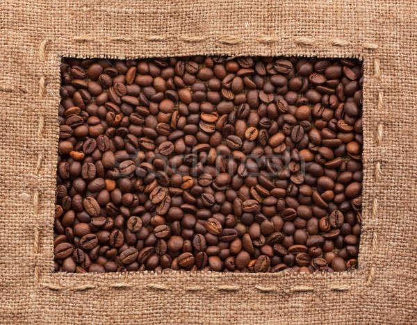 Cadre toile de jute grains de café utilisé alimentaire design Photo stock © alekleks