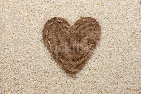 Quadro forma coração pano de saco arroz espaço Foto stock © alekleks