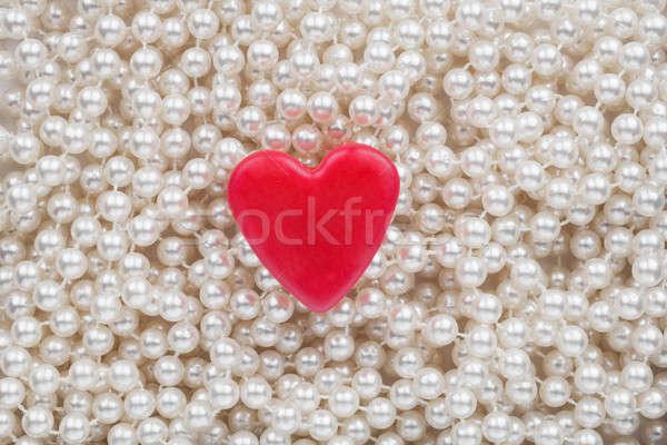 Harten witte kralen bruiloft ontwerp glas Stockfoto © alekleks