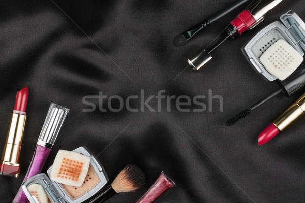 Gyönyörű kép kozmetikai fekete szatén űr Stock fotó © alekleks