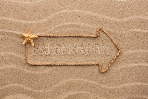 Arrow made of rope and starfish with the word Baden Baden on the Stock photo © alekleks