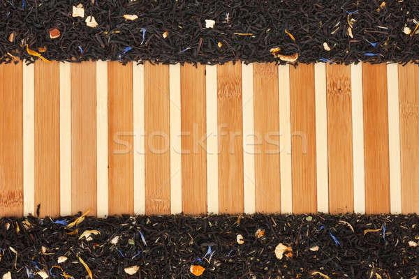 Dried  black  tea  on a bamboo mat Stock photo © alekleks