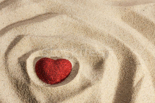 Symbolic heart in the sand Stock photo © alekleks