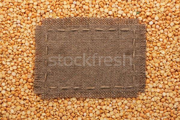 Cadre toile de jute ligne mensonges pois semences Photo stock © alekleks