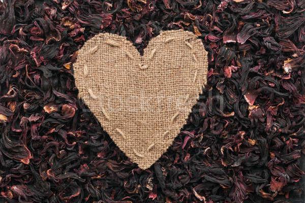 Cadre forme coeur toile de jute séché hibiscus Photo stock © alekleks