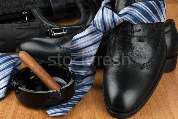 Klasyczny buty tie parasol cygara popielniczka Zdjęcia stock © alekleks