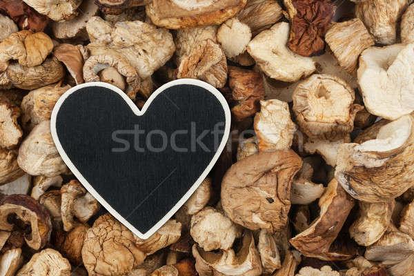сердце цен тег Ложь сушат гриб Сток-фото © alekleks