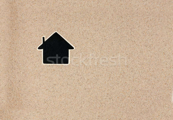 Pointer, ads board in the form house  in the sand Stock photo © alekleks
