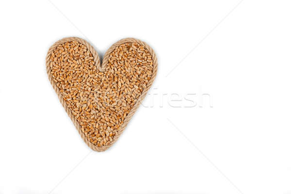 Symbolic heart made from rope with wheat grains Stock photo © alekleks