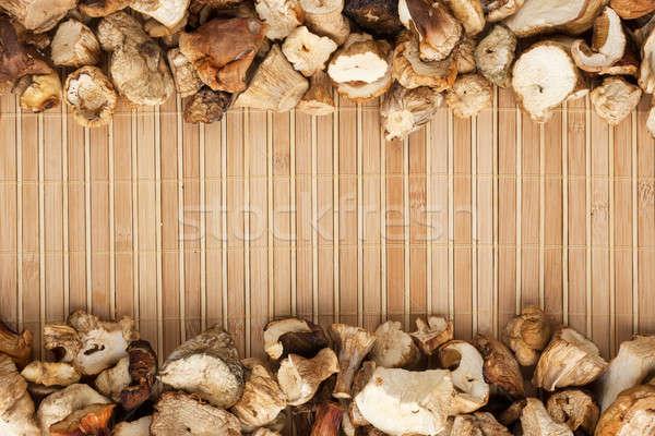 Aszalt gomba fény bambusz űr szöveg Stock fotó © alekleks