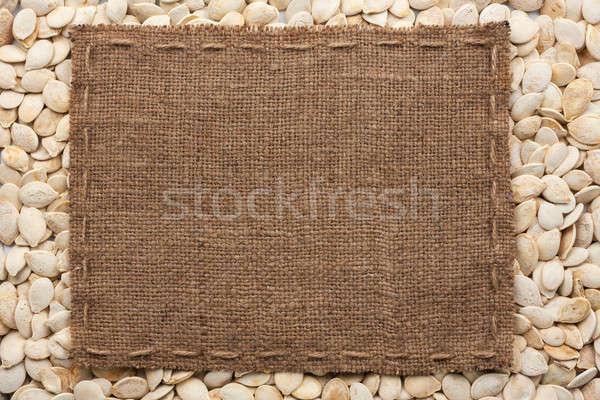Frame jute lijn pompoen zaden Stockfoto © alekleks