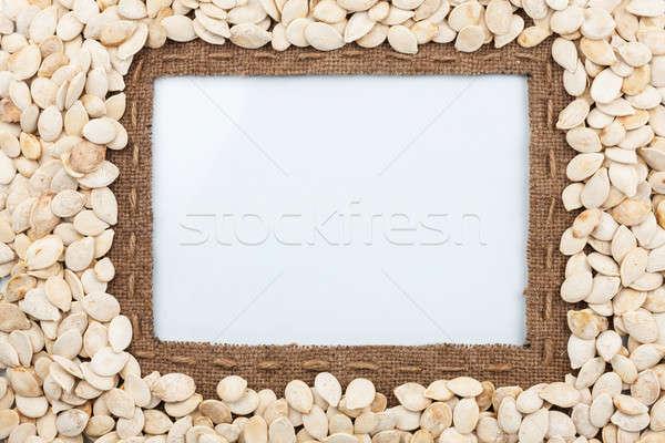 Keret zsákvászon vonal sütőtök magok hazugságok Stock fotó © alekleks