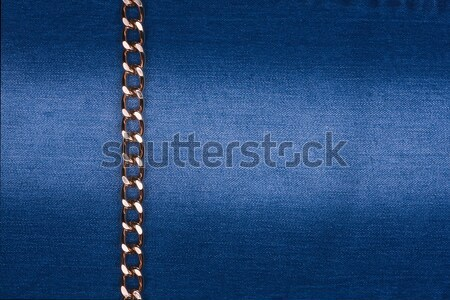 Gold chain lying on denim Stock photo © alekleks